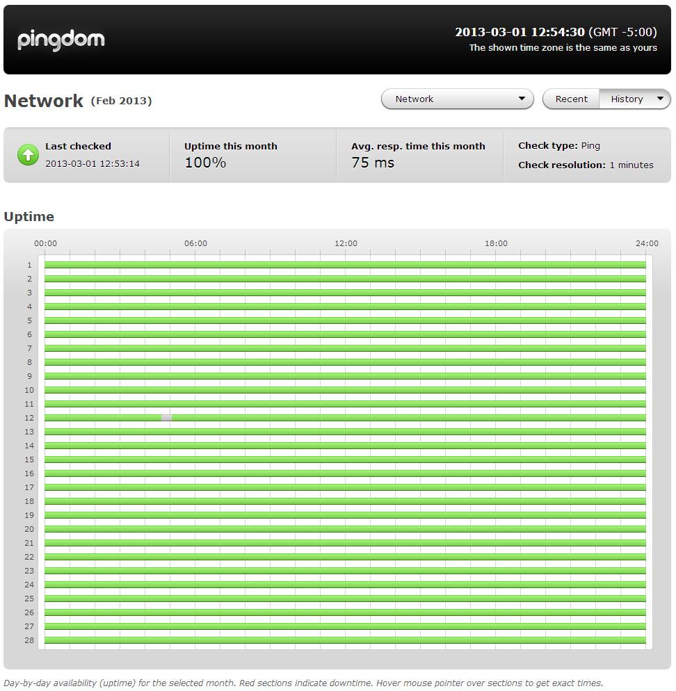 100% Network Uptime - February Report