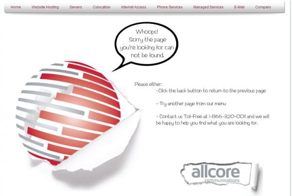 AllCores 404 custom error page