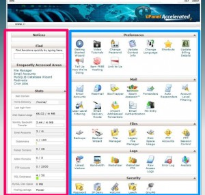 cPanel standard layout