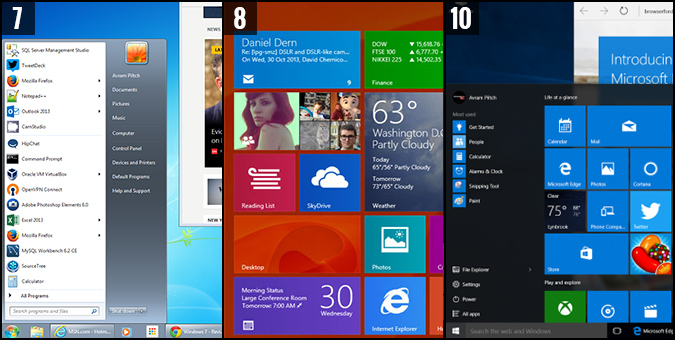 Windows start menu comparison