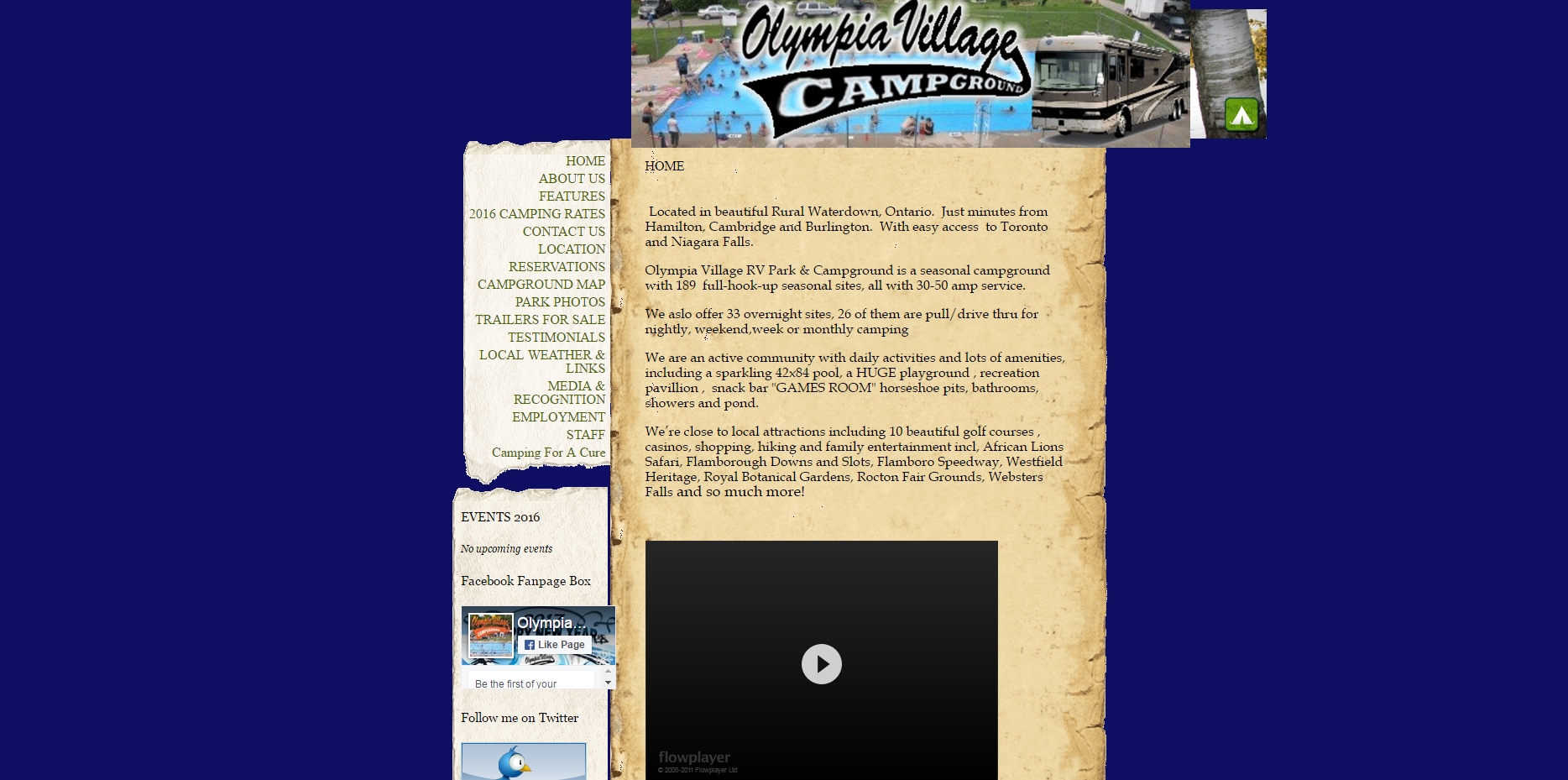 Campground website screen shot