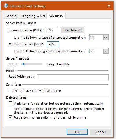 Advanced E-Mail settings