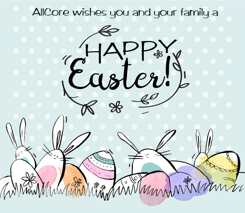 Easter banner with bunnies and eggs