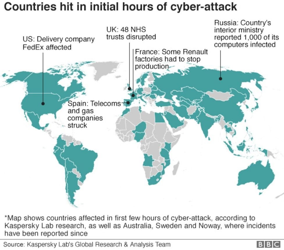 WannaCry cyber attacked areas