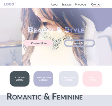 Romantic colour scheme